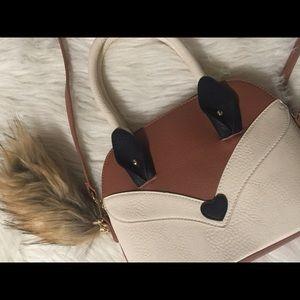 Handbags - Cream & brown Fox purse w/ detachable tail